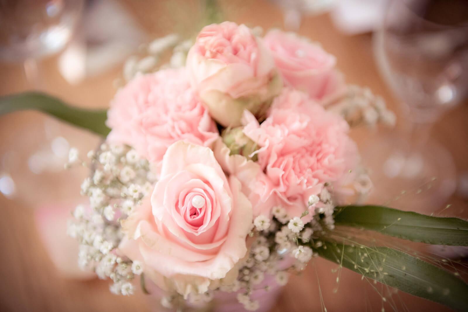 freie Trauung Ammersee - Tischdeko, Rose mit Perle