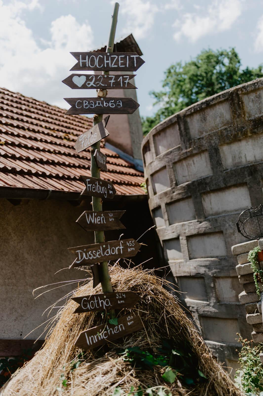 Gartenhochzeit Buchloe - Wegweiser im Heuhaufen