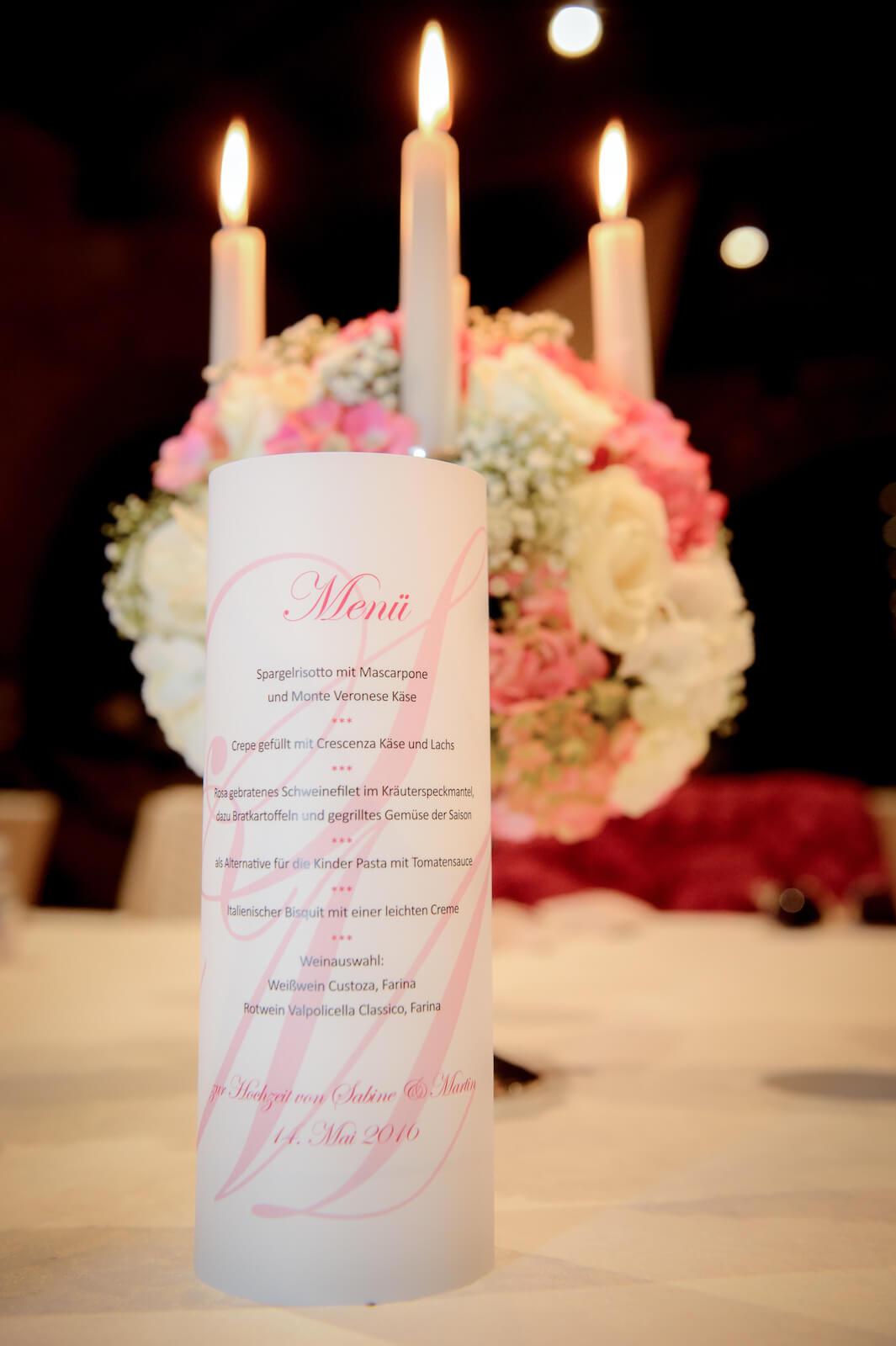 Hochzeit Gardasee - Menükarte am Abend