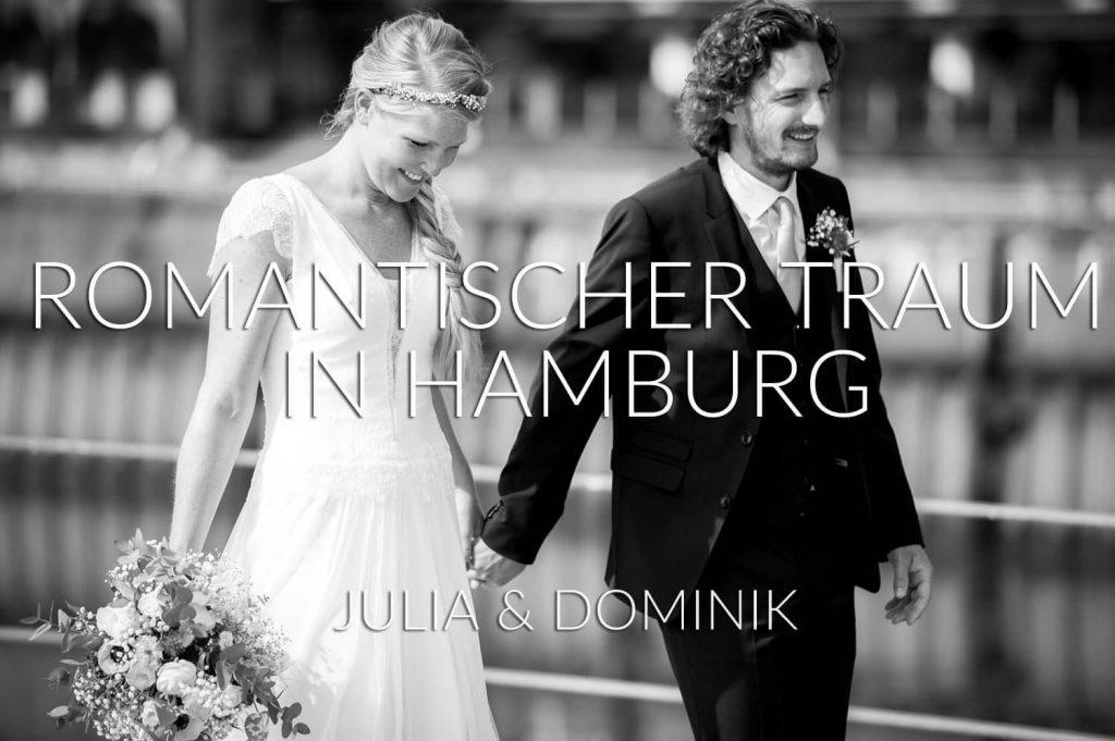 romantischer Traum - Braut mit Brautstrauß und Bräutigam schlendern verliebt in Hamburg